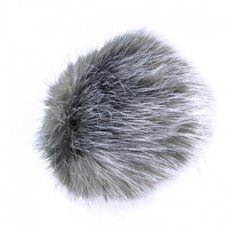 Round Faux Fur Pom Pom - Mouse Grey Unic