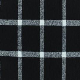 ♥ Coupon tissu 40 cm X 135 cm ♥ Viscose crêpé à carreaux - noir