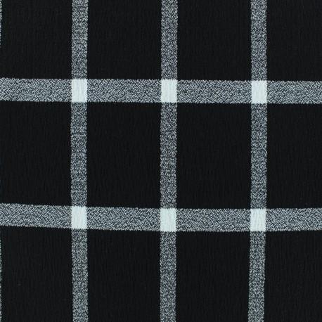 Tissu Viscose crêpé à carreaux - noir x 10cm