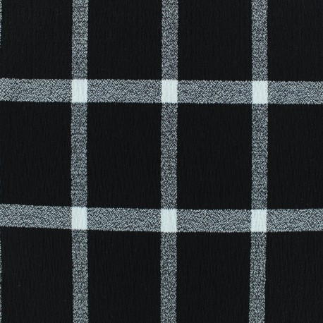 Checked viscose crepe fabric - black/white x 10cm