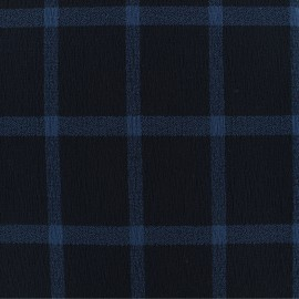 ♥ Coupon tissu 110 cm X 135 cm ♥ Viscose crêpé à carreaux -bleu marine