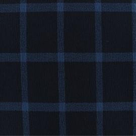 Tissu Viscose crêpé à carreaux -bleu marine x 10cm