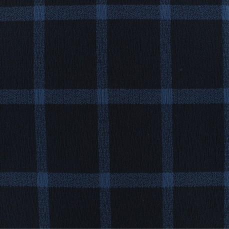 Checked viscose crepe fabric - navy/blue x 10cm