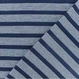Tissu jersey rayé lurex - Bleu marine x 10cm