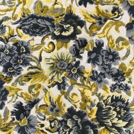 Tissu Jacquard lurex Odette - bleu/jaune x 10cm