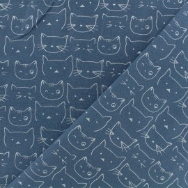 Flannel Fabric - Ocean Blue Chaton x 10 cm