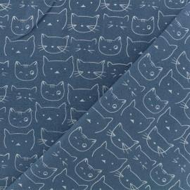 Tissu Flanelle Chaton - Bleu Houle x 10cm