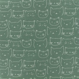 Tissu Flanelle Chaton - Vert sauge x 10cm