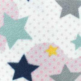 Tissu Polaire Coeur Pop - blanc x 10cm