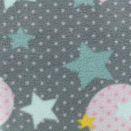 Tissu Polaire Coeur Pop - gris x 10cm