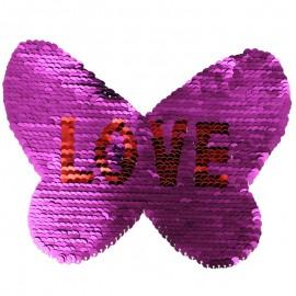 Ecusson à Coudre Papillon Love - Fuchsia