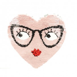 Ecusson à Coudre Coeur Réversible - Rose Métallique