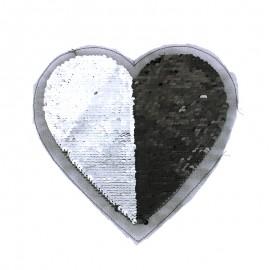 Écusson à Coudre Coeur Biface - Argent/Noir