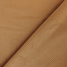 Ribbed velvet fabric - milk coffee x 10cm