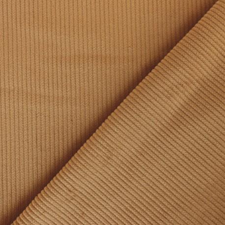 Ribbed velvet fabric - milk coffee x 10cm