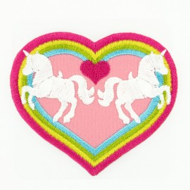 Thermocollant Coeur Licorne - Rose