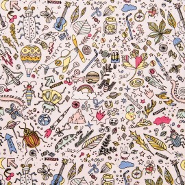 Jersey Cotton fabric by Rico Design - powder pink insects x 10cm