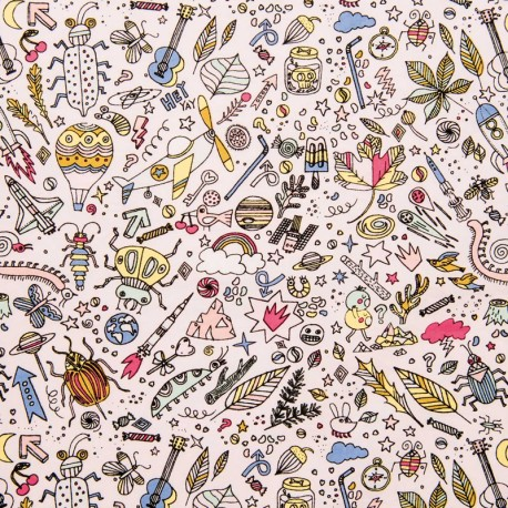 Cotton fabric by Rico Design - Powder pink insects x 10cm