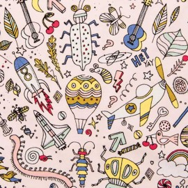 Coated cotton fabric Insects Rico Design - Powder pink x 10cm