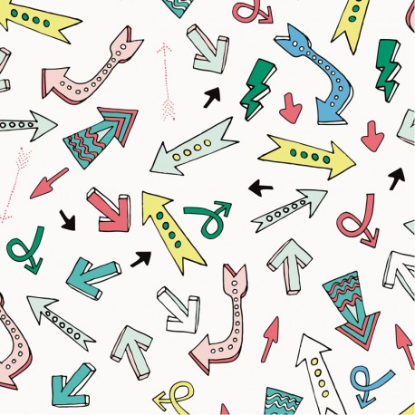 Coated cotton fabric  Neon Arrow Rico Design - white x 10cm