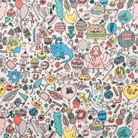 Poplin Cotton fabric by Rico Design - Powder pink Monsters Party x 10cm