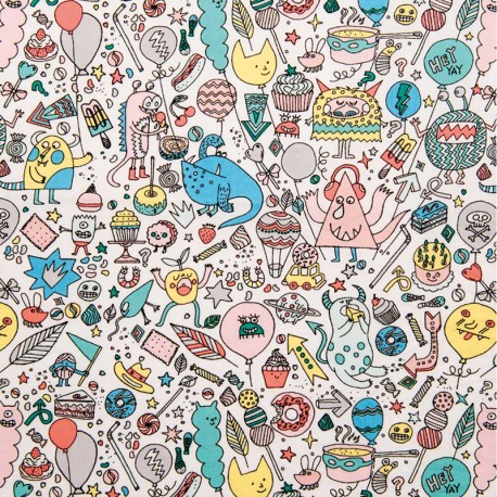 Cotton fabric by Rico Design - Powder pink Monsters Party x 10cm