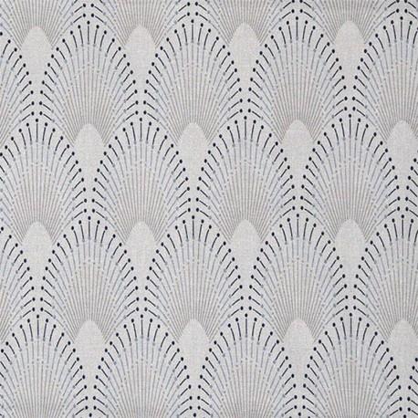 Tissu coton enduit Chrysler - gris perle x 10cm