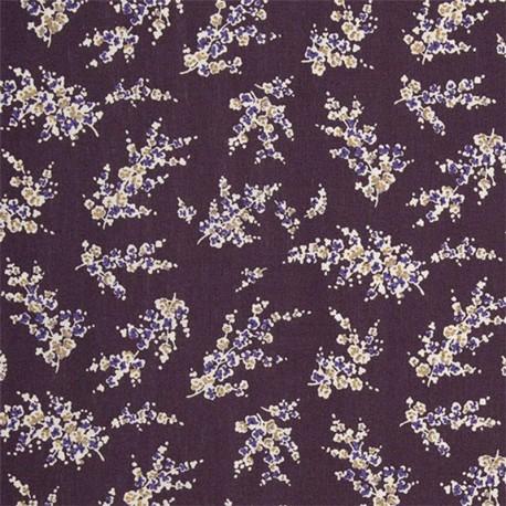 Tissu coton enduit Wisteria - Aubergine x 10cm