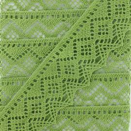 Ruban Dentelle au fuseau 43mm - vert clair x 50cm