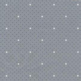 Tissu coton enduit Dottie dot -gris bleuté x 10cm