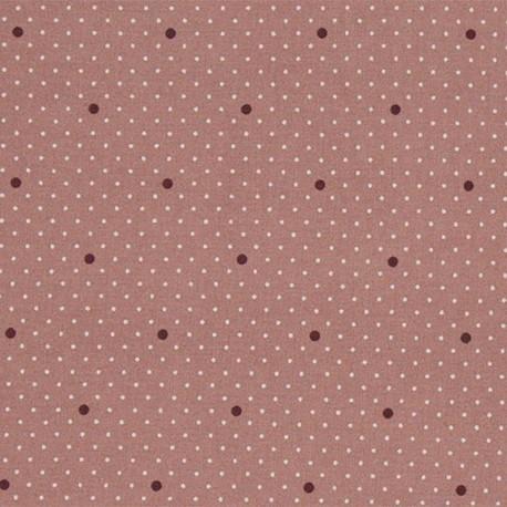 Tissu coton enduit Dottie dot - Rose x 10cm