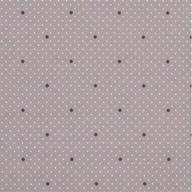 Tissu coton enduit Dottie dot - gris de rose x 10cm