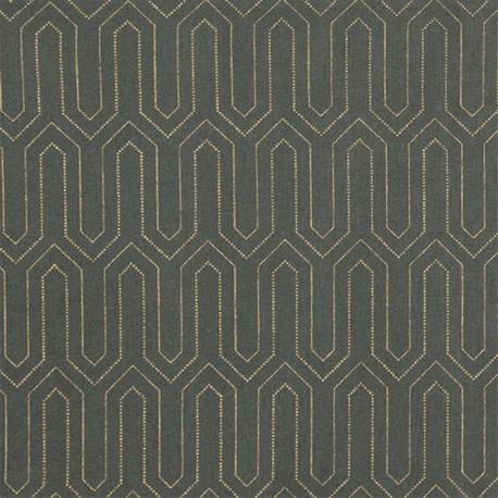 Tissu coton enduit Broadway - kaki x 10cm