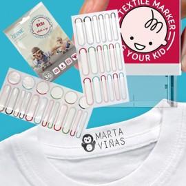 Pack tampon textile, papier et DIY + 36 étiquettes super résistantes