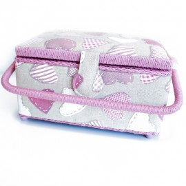 Rectangular Sewing Box - Pink/Linen Heart
