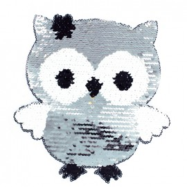 Reversible Owl Sewing Patch - Silver