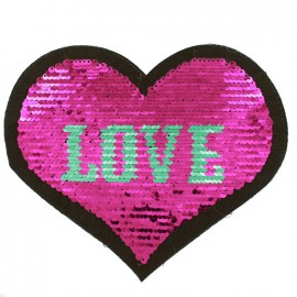 Reversible Love Heart Sewing Patch - Fuchsia