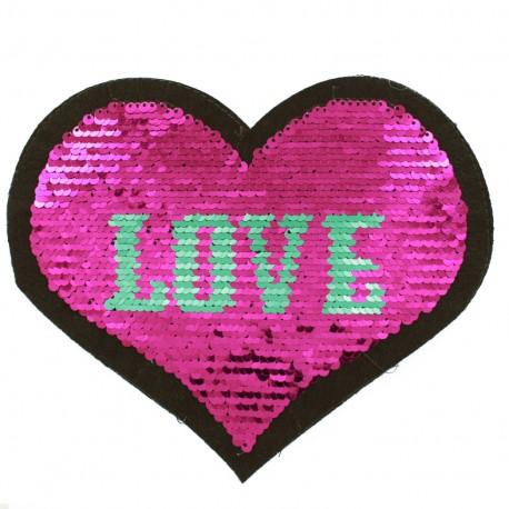 écusson à Coudre Coeur Love Réversible Fuchsia
