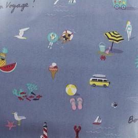Tissu coton enduit Rico Design Bon voyage - bleu x 10cm
