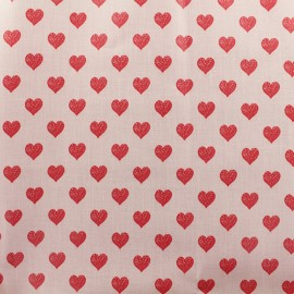 Coated cotton fabric Rico Design - Pink Hearts x 10cm