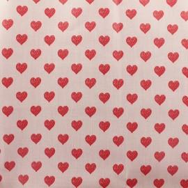 Tissu coton enduit Rico Design Coeurs - Rose x 10cm