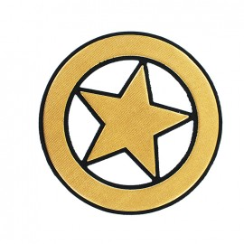 Circled Star Iron-On Patch - Gold