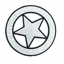 Circled Star Iron-On Patch - Silver