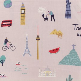 Cotton fabric Rico Design - Lilac Travel the world x 10cm