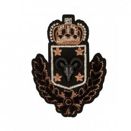 Blason Royal Ram Iron-On Patch - Black