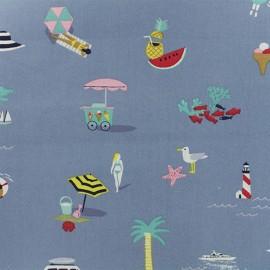 Tissu coton Rico Design Bon voyage - bleu x 10cm