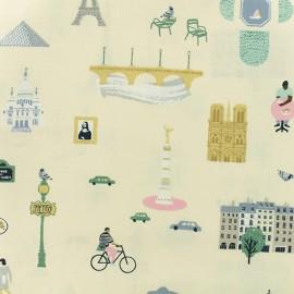 Rico Design cotton fabric  - Light yellow Paris x 10cm
