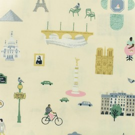 Tissu coton Rico Design Paris - Jaune pastel x 10cm