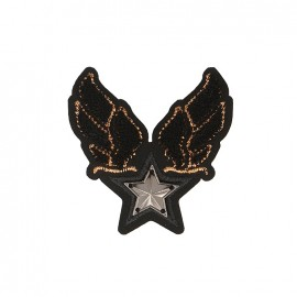 Blason Royal Star Iron-On Patch - Black