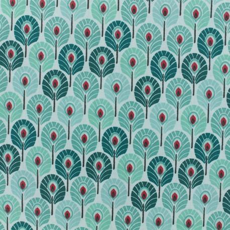 Tissu coton crétonne enduit Plume de paon - vert menthe x 10cm